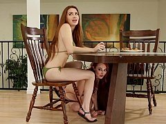 Determined lesbos engage in xxx pussy touching