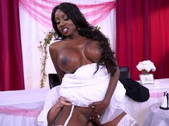 Lad and black bride with huge breasts can't suspect wedding night