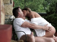 Sexy blonde is stretching her drenched cum bucket lips in the garden