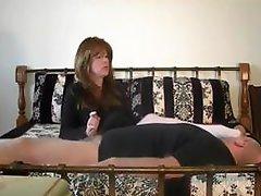 Femdom goddess Masturbates Lucky Man While On The Bed