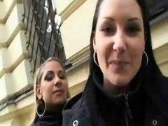 Sweet czech girls having fun in public places