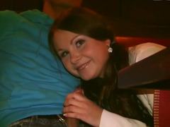 Adorable 18 year old whore gets rammed by two handsome men
