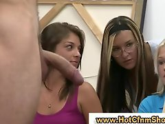 Cfnm girls give a fella a handjob in reality groupsex