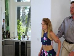 Blonde is getting some punishment from her stepdad in this video