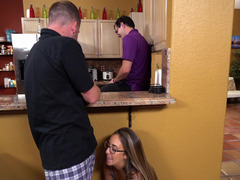 A sexy broad is getting fucked in the kitchen by a lad