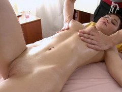A gorgeous inexperienced with puffy nipples is getting caressed with a dildo