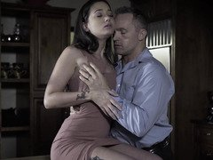 Stepdaughter Gia Paige and also more seasoned man admire foreplay in kitchen