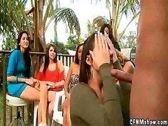 Strange brunette in cock sucking contest gets a hard dick cumshot on face