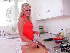 A hot blonde loves to play with her food
