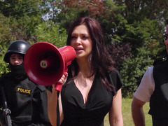 Hungarian dark haired broad dressed as a police woman screws a fella