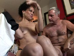 Grown-up couple are ready for some super hot getting down and dirty session at home