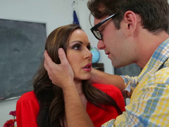 A big-breasted bimbo milf teacher is getting down and dirty a nerd in the classroom
