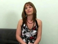 Shy beauty giving blowjob and plus having an intercourse on sofa