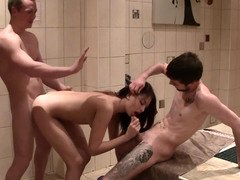 Jessy Rose uses her mouth and moreover love hole to quench a duo fellows