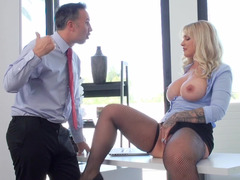Voluptuous office whore is fond of her colleague's love tool