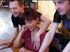 Russian Mom Gangbanged