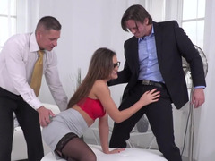Radiant office kitten ins stockings handles her customers' cocks