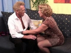 Grandma in Stockings hard fucked by Grandpa with Face cumshot