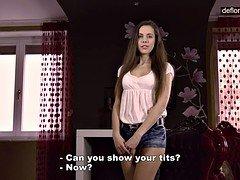 Defloration casting - charming Anastasia shows virgin pussy