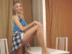 Hot solo masturbation videos of blonde teen and favorite dildo