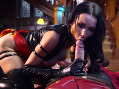 A raven haired babe in latex is getting a dick inside her beefy twat