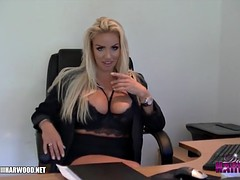Blonde big tits blackmail dirty office boss in sexy lingerie