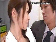 Oriental office secretary make love at meeting room