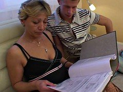 Embarrassed blonde granny gets some sexual assistance