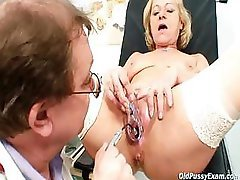 Blond granny squirting during a gyno reassessment