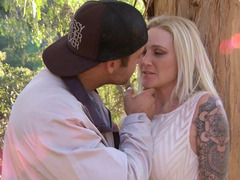 Forest and good weather make angel and lucky boy have outdoor sex