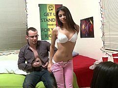 Naughty brunette getting down and dirty