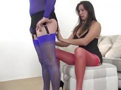 Gimp servant worships MILFs sexy nylon covered feet and plus legs
