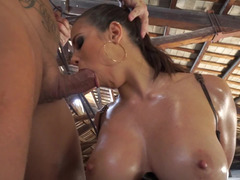 A Spanish beauty that has big breasts is getting pounded roughly