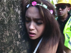 A nature broad is tied up & fucked in the forest by some trees