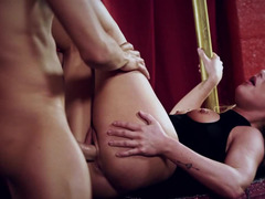 A lad has his love pole tied up by a aroused blonde chick today