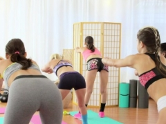 FitnessRooms Young and fresh teen chicks make love gym teacher