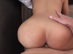 Sizeable ass of black-skinned girl is shaking while guy is fucking