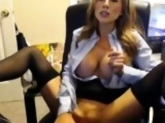 Jaw-dropping Adult model Secretary Sextoys Her Pussy
