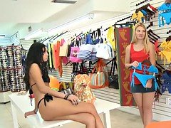 Blondie try on blue bikini and moreover fucked for some money
