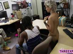 Curly dude is beholding his Girlfriend fuck hole being fucked by the pawnshop pervert owner