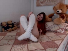 Holly deluxe redhead teen toying vag with a large dildo