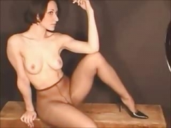 Topless in pantyhose photoshoot