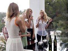 Slutty Russian chicks love a steamy lez orgy