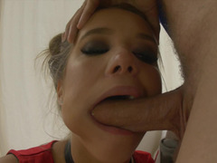 Deepthroat bj and vaginal drilling ends with facial cumshot