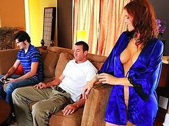 Excited big hooter Eager mom mom is craving her son's finest friend's big love pole
