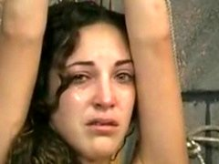 Smoking hot brunette is tied and made to cry by more experienced menial master