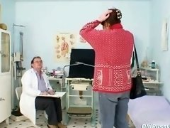 Old non-professional wife at pervy gyno doctor