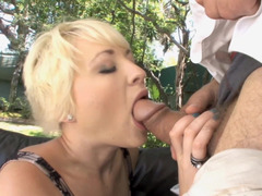 Short haired blonde really loves cheating on her husband with this guy
