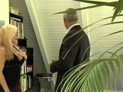 Blonde Secretary Seduces Mature Bos