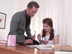 Teacher fits pretty school girl into his schedule